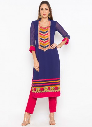 Embroidered Faux Georgette Party Wear Kurti in Blue