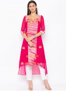 Embroidered Faux Georgette Party Wear Kurti in Hot Pink
