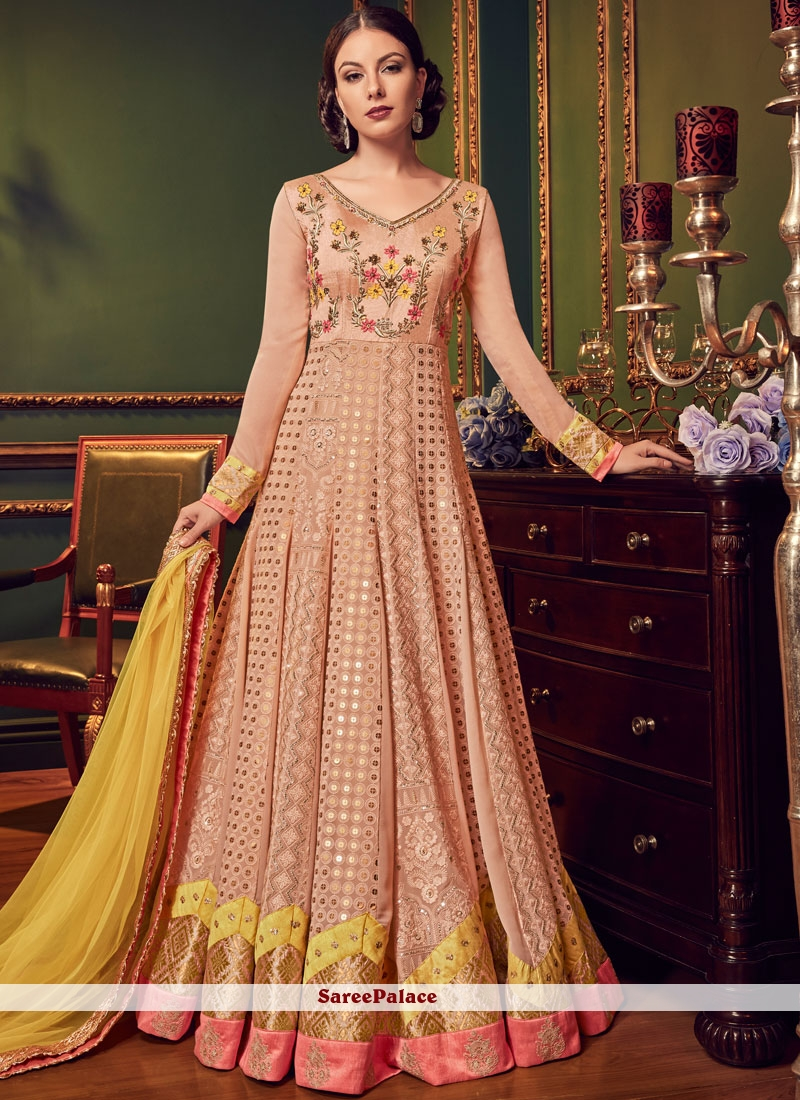Embroidered Faux Georgette Peach Floor Length Anarkali Suit