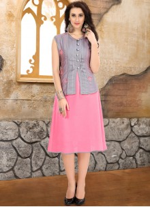 Embroidered Faux Georgette Pink Party Wear Kurti