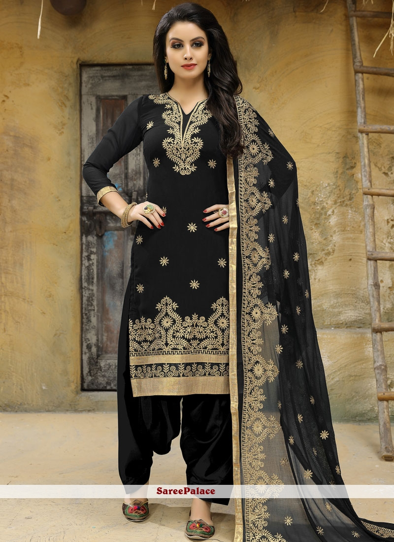 Embroidered Faux Georgette Punjabi Suit in Black