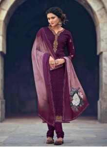 Embroidered Faux Georgette Purple Designer Straight Suit