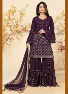 Embroidered Faux Georgette Purple Readymade Suit