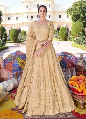 Beige Embroidered Faux Georgette Readymade Anarkali Suit