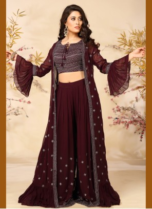Embroidered Wine Faux Georgette Readymade Suit