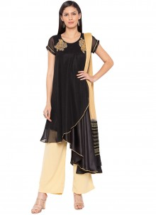 Embroidered Faux Georgette Readymade Suit in Black