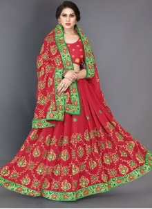 Embroidered Faux Georgette Red Classic Saree