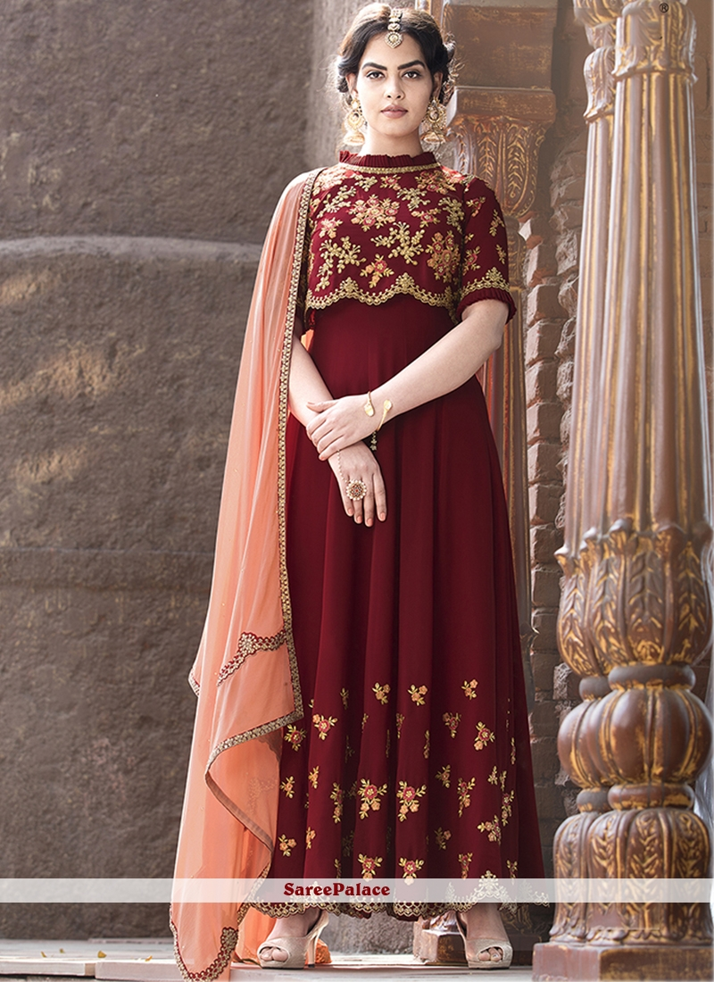 Embroidered Faux Georgette Red Floor Length Anarkali Suit