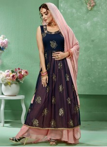 Embroidered Faux Georgette Salwar Kameez in Blue
