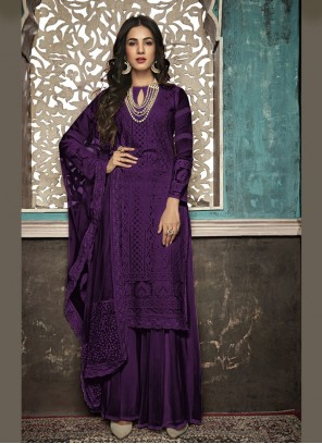 Embroidered Faux Georgette Salwar Suit