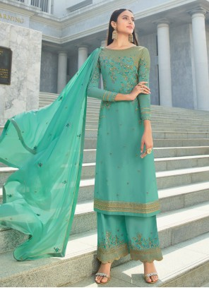 Embroidered Faux Georgette Salwar Suit in Green
