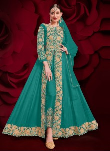 Embroidered Faux Georgette Sea Green Anarkali Suit