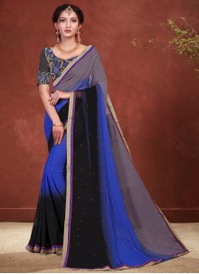 Embroidered Faux Georgette Shaded Saree in Black, Blue and Grey