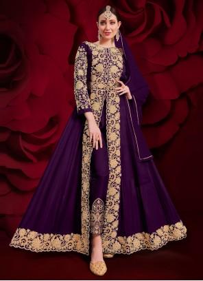 Purple Embroidered Festival Anarkali Suit
