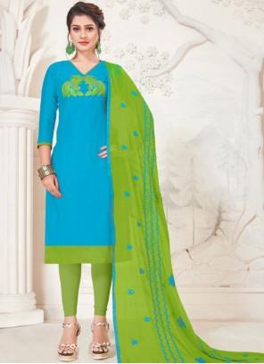 Turquoise Embroidered Festival Churidar Salwar Kameez