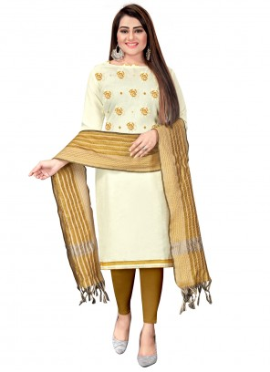 Off White And Beige Embroidered Festival Churidar Suit
