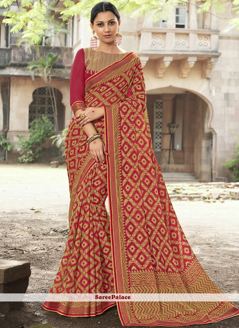 Red Embroidered Festival Classic Designer Saree