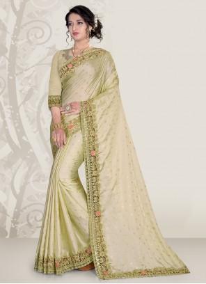 Embroidered Festival Green Classic Designer Saree