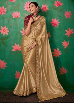 Embroidered Festival Beige Classic Saree