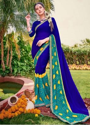 Blue Embroidered Festival Classic Saree