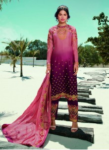 Magenta And Pink Embroidered Festival Designer Pakistani Salwar Suit