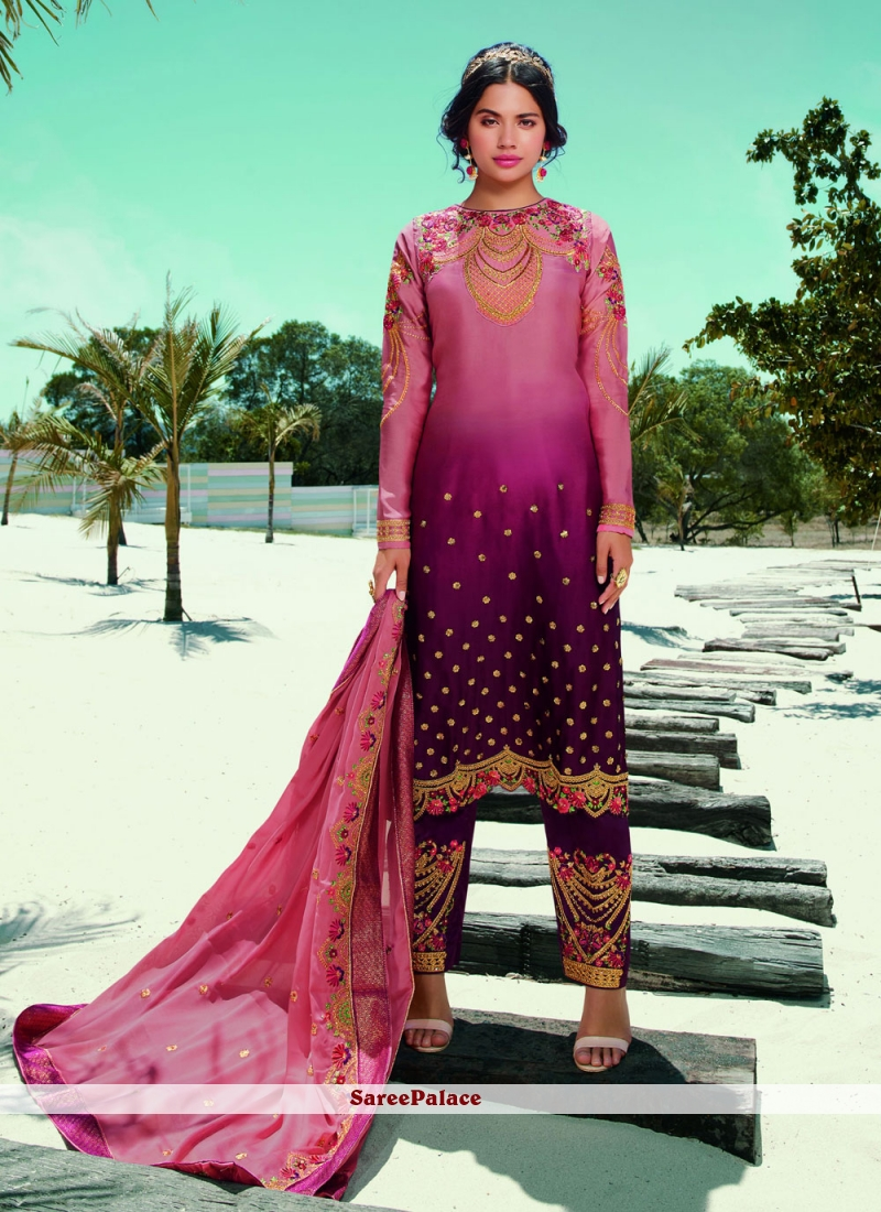 Magenta And Pink Embroidered Festival Designer Pakistani Salwar Suit