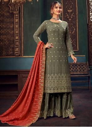 Green Embroidered Festival Designer Pakistani Salwar Suit