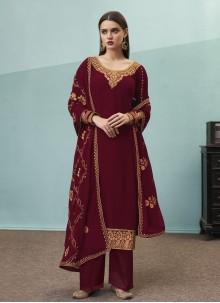 Wine Embroidered Festival Designer Pakistani Suit