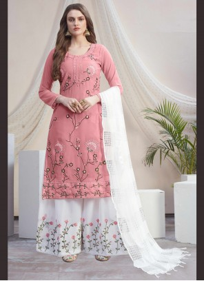 Off White Embroidered Festival Designer Palazzo Suit