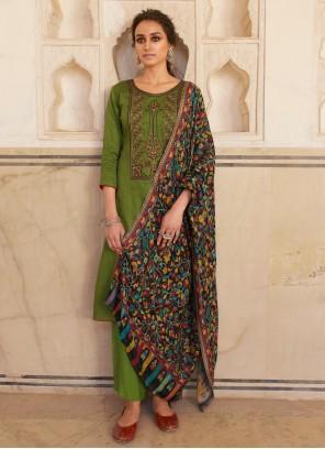 Embroidered Festival Designer Green Salwar Kameez