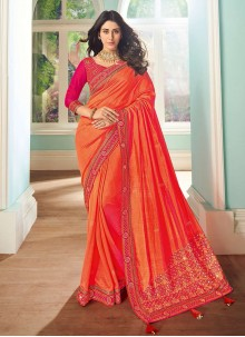 Embroidered Festival Designer Orange Saree