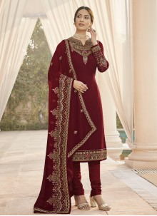 Embroidered Festival Maroon Designer Straight Suit