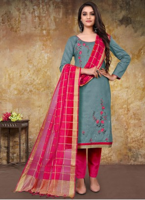 Grey Embroidered Festival Designer Straight Suit