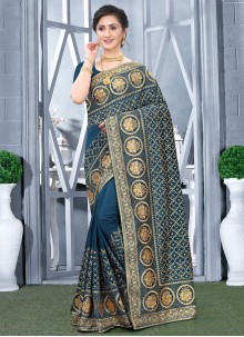 Embroidered Festival Teal Designer Traditional Saree