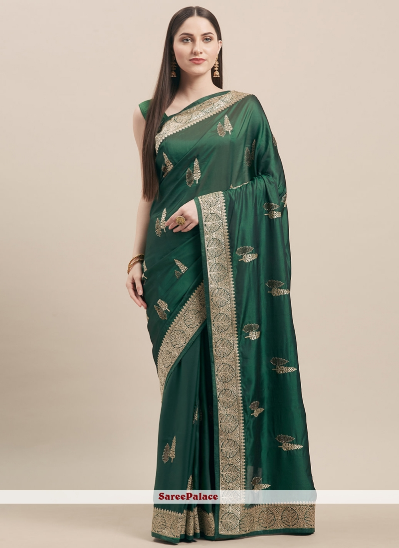 Green Embroidered Festival Designer Traditional Saree
