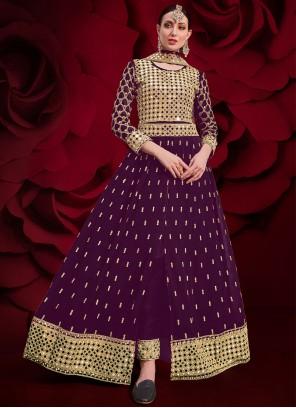 Purple Embroidered Festival Floor Length Anarkali Suit