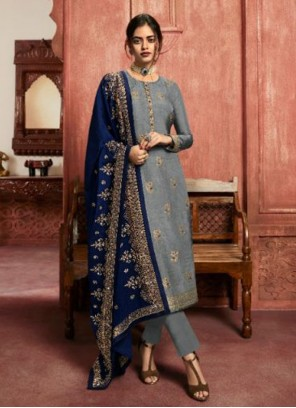 Embroidered Festival Grey Pant Style Suit