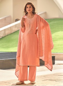 Embroidered Peach Festival Pant Style Suit