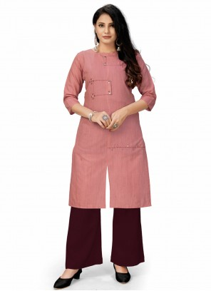 Embroidered Festival Pink Party Wear Kurti