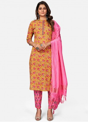 Mustard And Pink Embroidered Festival Readymade Suit