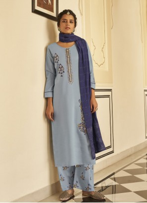 Blue Embroidered Festival Readymade Suit