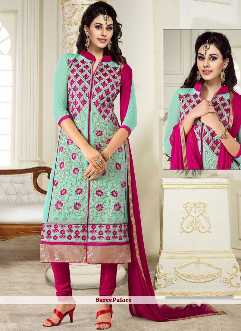 Turquoise Embroidered Festival Salwar Suit