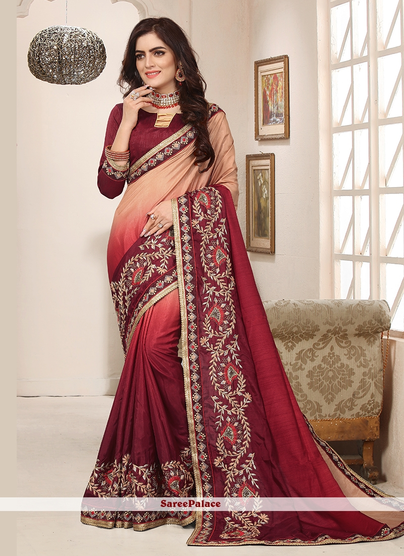 Embroidered Festival Shaded Saree