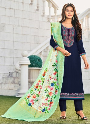 Blue Embroidered Festival Straight Suit