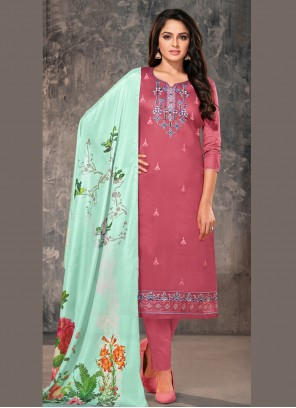 Pink Embroidered Festival Straight Suit