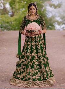 Embroidered Floor Length Green Anarkali Suit