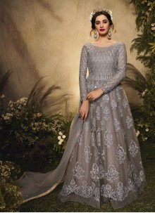 Grey Embroidered Floor Length Anarkali Suit