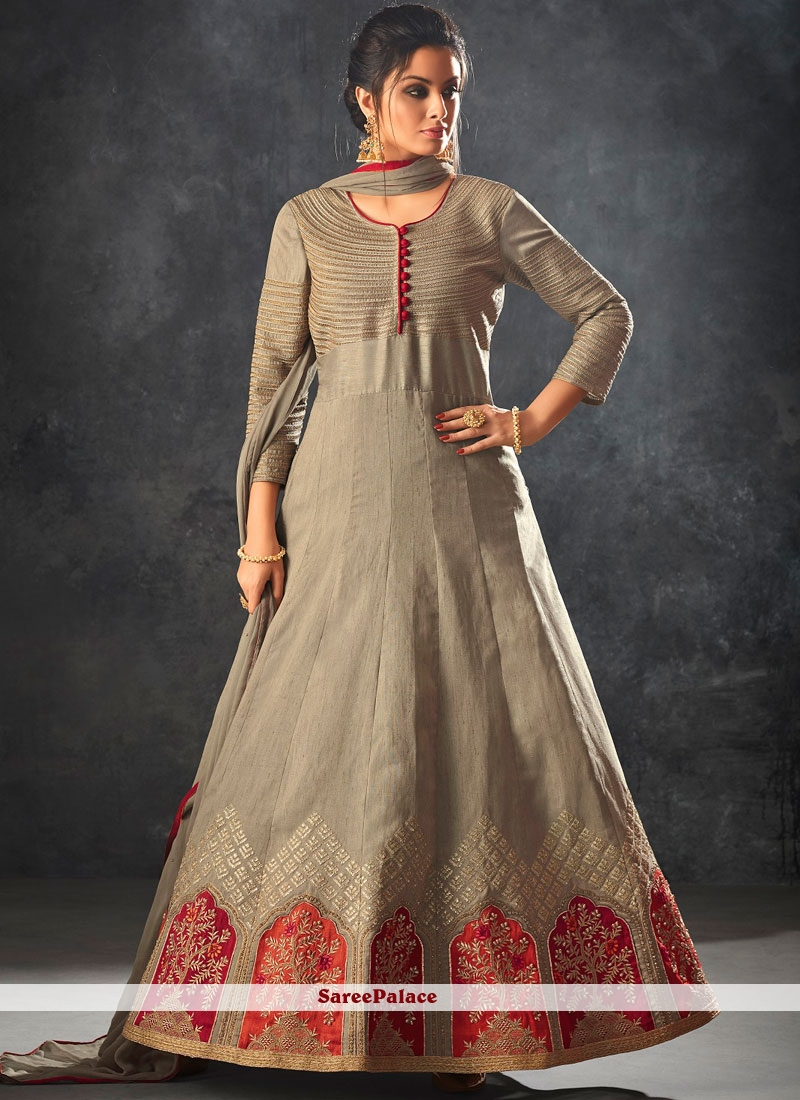 Beige Embroidered Floor Length Anarkali Suit