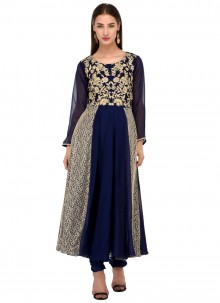 Navy Blue Georgette Readymade Salwar Suit