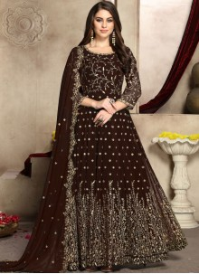 Embroidered Georgette Anarkali Salwar Suit in Brown